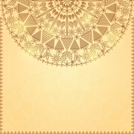 Retro Brown Shiny Vintage Ornament  Vector Invitation Card Vector