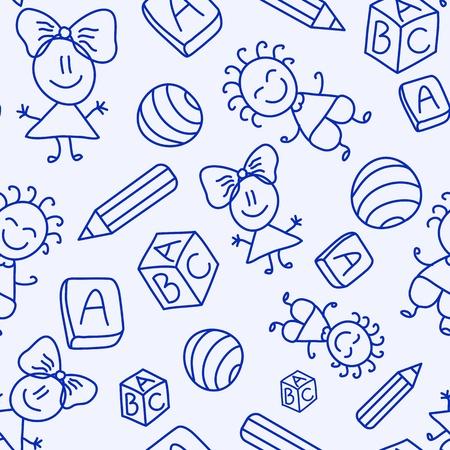 Dibujado a mano sin patrón, con los niños, los libros y lápices. Ilustración vectorial