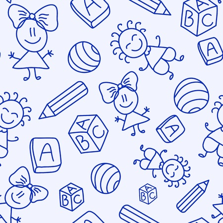 toys pattern: Hand drawn seamless pattern with kids, books and pencils. Vector illustration