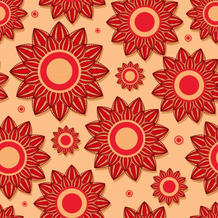 Beautiful Red Flower Seamless Pattern Stock Vector - 19396212