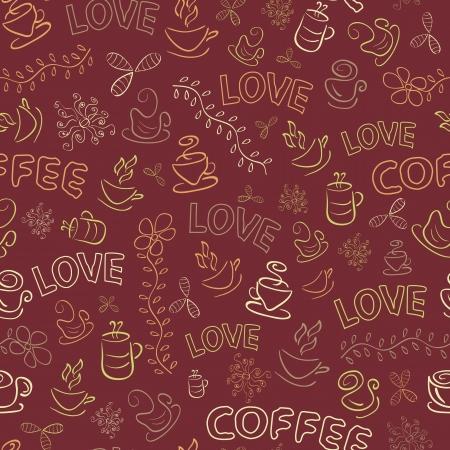 어두운 갈색 배경에 사랑 단어와 원활한 커피 패턴입니다. 벡터 일러스트 레이 션 일러스트