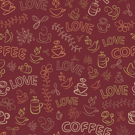 Seamless Coffee Pattern with Love Word on Dark Brown Background. Vector Illustration Illustration