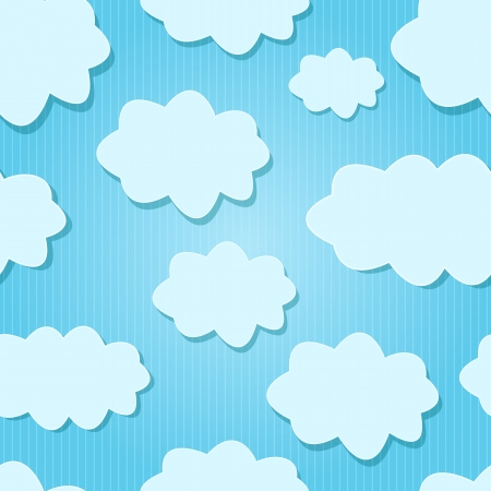Vector Design White  Clouds in Blue Sky  Seamless Background Stock Vector - 19395745