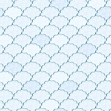 Seamless Light Blue and White Fluffy Cloud Pattern  Vector Illustration