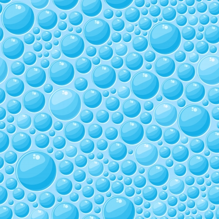 Light Blue Round Bubbles in Seamless Vector Pattern Vector