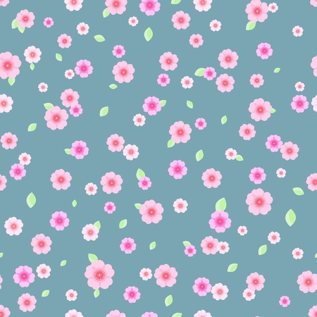 Seamless Pattern with Pink and White Flowers on Grey blue Background  Vector Floral Illustration Stock Vector - 19396194