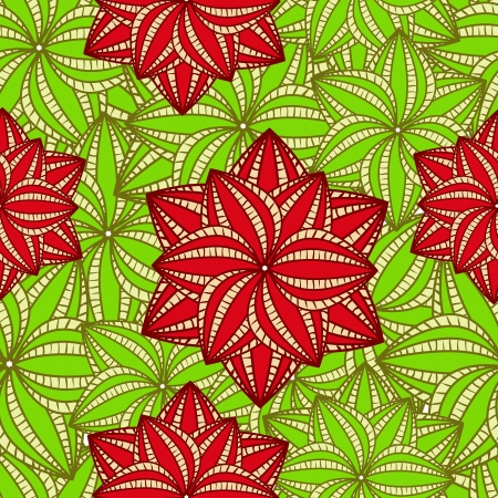 Big Red flowers on Green Palm Leaves. Vector Seamless Pattern