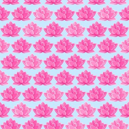핑크 로터스 꽃 원활한 패턴. 밝은 파란색 배경에 꽃 질감