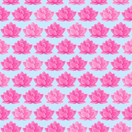 Pink Lotus Flower Seamless Pattern. Floral Texture on Light Blue Background Illustration