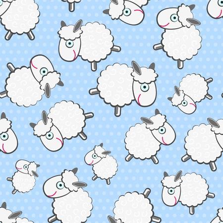 밝은 파란색 배경에 귀여운 흰색 양들의 원활한 패턴