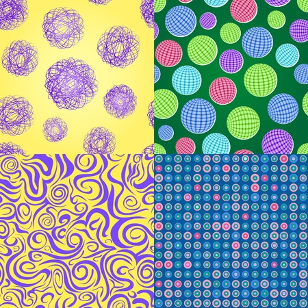 Set of Abstract Seamless Pattern with Round Balls and Dots  Vector Background Vector