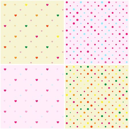 Set of Polka Dot Heart Seamless Patterns in Vector Format Vector