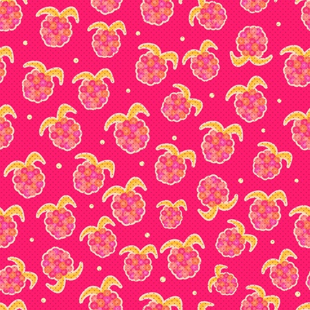 Raspberry Background  Seamless Pattern with Ripe pink Juicy Berries Vector