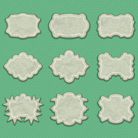 ardboard: Set of Retro Blank Labels  Vector Frames