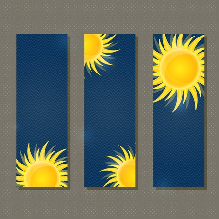Dark Blue Banners with Yellow Glowing Sun  Vector illustration Vector