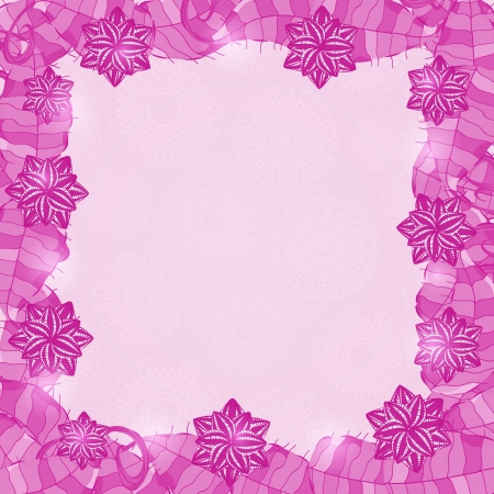 Purple Shiny Floral Frame. Invitation Card with Leaves and Place for Text. Vector