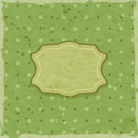 Retro Green Invitation Card with Label. Vector Illustration Vector