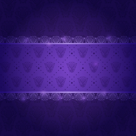 Dark Purple Invitation Card with Horizontal Pattern Label Vector