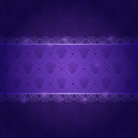 Dark Purple Invitation Card with Horizontal Pattern Label Vector