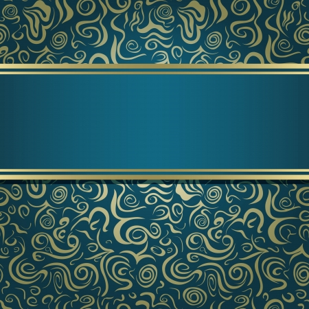 Dark Green Blue Invitation Card with Abstarct Pattern and Blank Horizontal Stripe Label. Vector Illustration Vector