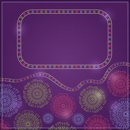 링 장식과 텍스트에 대 한 빈 공간을 가진 보라색 빈티지 카드 일러스트