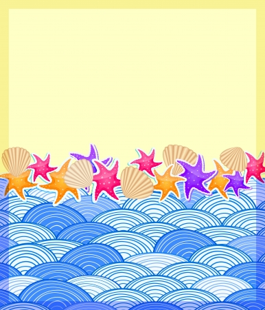 Shells and Starfishs on Beach. Sand and Wave Ocean. Invitation Vacation Card Stock Vector - 19396179