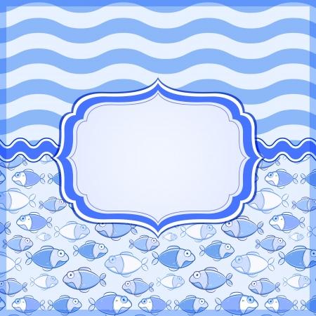 텍스트 레이블 프레임 및 장소 블루 마린 카드. 벡터 해상 배너