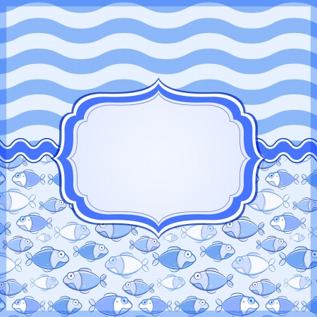 Blue Marine Card with Label Frame and Place for Text. Vector Nautical Banner