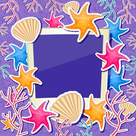 Photo Frame with Shell, Star Fish and Coral Ornament Decoration. Nautical Sea Vectro Card Vector