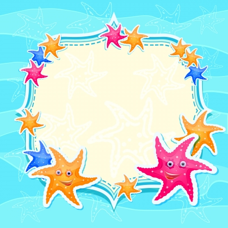 Blue Marine Invitation Card with Bright Starfishes. Cartoon Background
