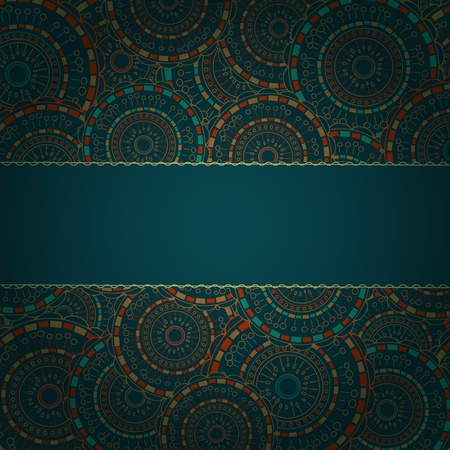 Dark Blue Card with Round Pattern and Band for Sample Text. Vector Background Vector