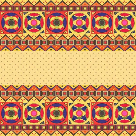 Abstract African Invitation Card with Ethnic Native Pattern. Vector Background