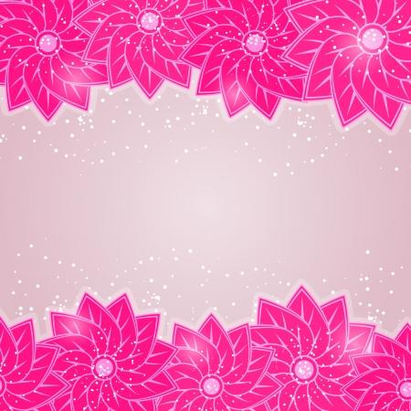 Stylish Floral Card on Grey Background. Shiny Vector Illustration