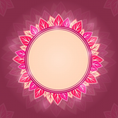 Leaf Round Pink Label on Dark Purple Background. Shiny Nature Card Vector