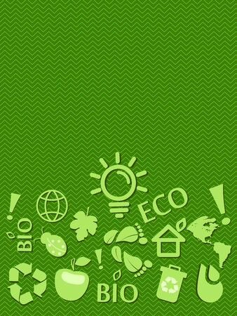 go green: Go Green Eco Card With Place for Text. Illustration Illustration