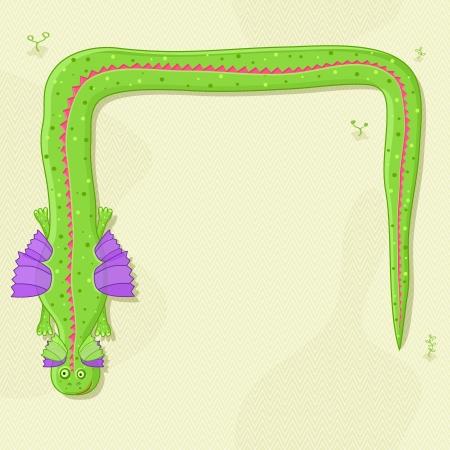 Cute Cartoon Green Long Dragon Invitation Card. Vector Greeting Background Vector