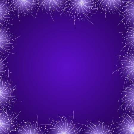 Purple Star Firework Frame. Vector Illustration Card Vector