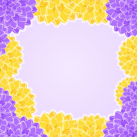 Card with Yellow and Violet Flowers Frame. Place for Text. floral Vector Illustration Stock Vector - 19395988