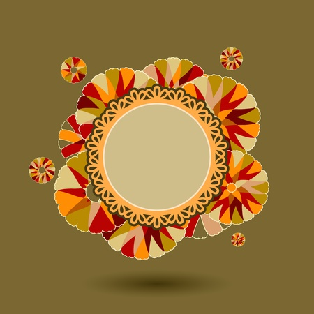 Stylish Vintage Card with Flowers of Warm colors. Vector Illustration Vector