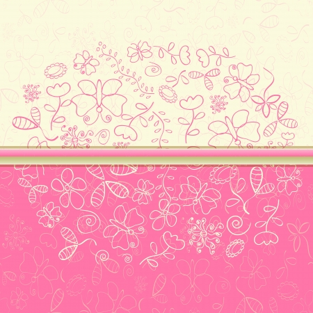 Pink Greeting Card with Flower and Butterfly Silhouettes. Vector Illustration Vector