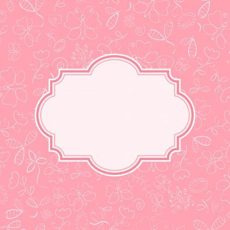 배경에 꽃과 나비 실루엣 핑크 초대 카드. 벡터 일러스트 레이 션