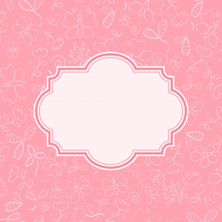 Pink Invitation Card with Flower and Butterfly Silhouettes on Background. Vector Illustration Illustration