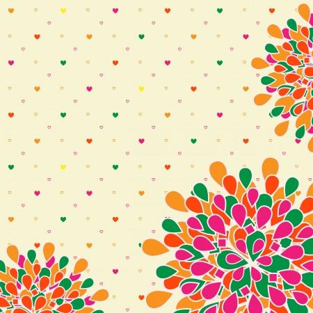 물방울 무늬 배경으로 밝은 다채로운 꽃 인사말 카드