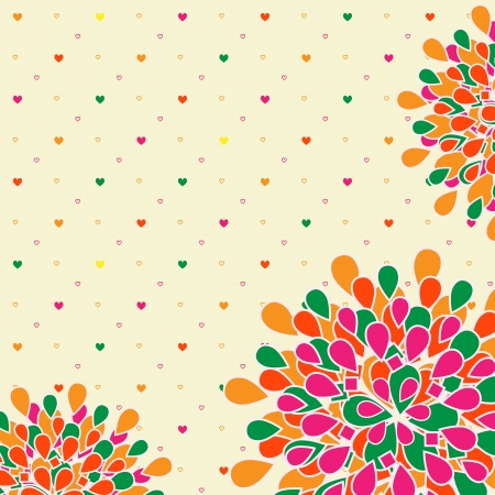 Bright Colorful Flower Greeting Card with Polka Dot Backdrop Illustration