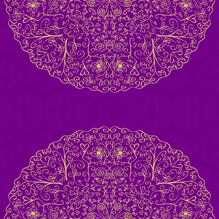 Purple Vintage Card with Place for Text and Two Half Mandala Round Elements. Vector Illustration