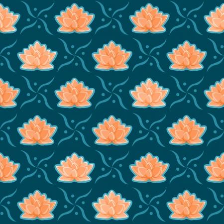 sem costura: Laranja Lotus Flower Padr Ilustra��o