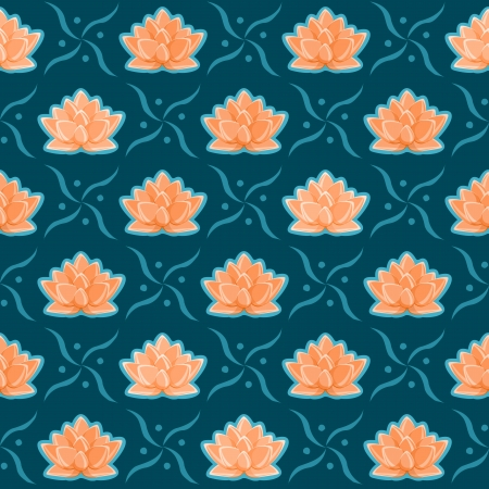 Orange Lotus Flower Seamless Pattern. Floral Texture on Dark Blue Background Vector