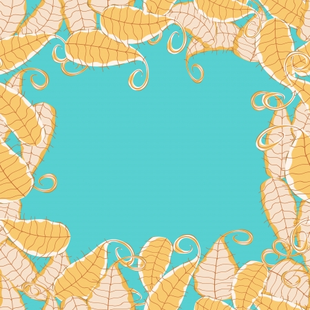 Invintation Card with White and Yellow Leaves on Turquoise Background. Place for Text Stock Vector - 20059857