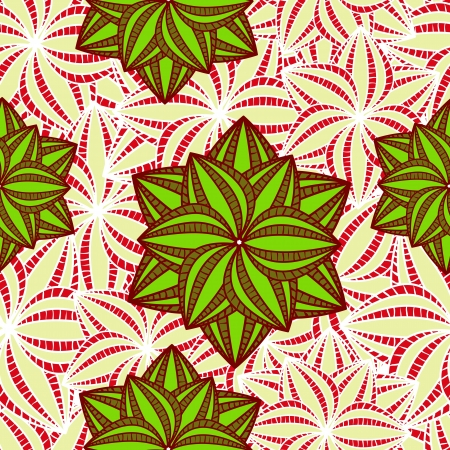 brigth: Green Flowers on Brigth White Background. Seamless Floral Pattern Illustration