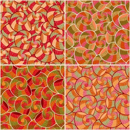 소용돌이 요소와 설정 추상 낙서 형상 원활한 패턴입니다. 벡터 일러스트 레이 션.
